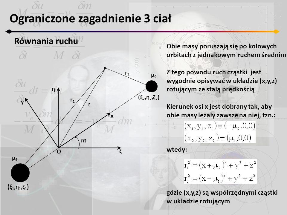 Ograniczone zagadnienie 3 ciał Równania ruchu nt ξ η x μ2μ2 μ1μ1 y r1r1 r r2r2 O (ξ2,η2,ζ2)(ξ2,η2,ζ2) (ξ1,η1,ζ1)(ξ1,η1,ζ1) Obie masy poruszają się po