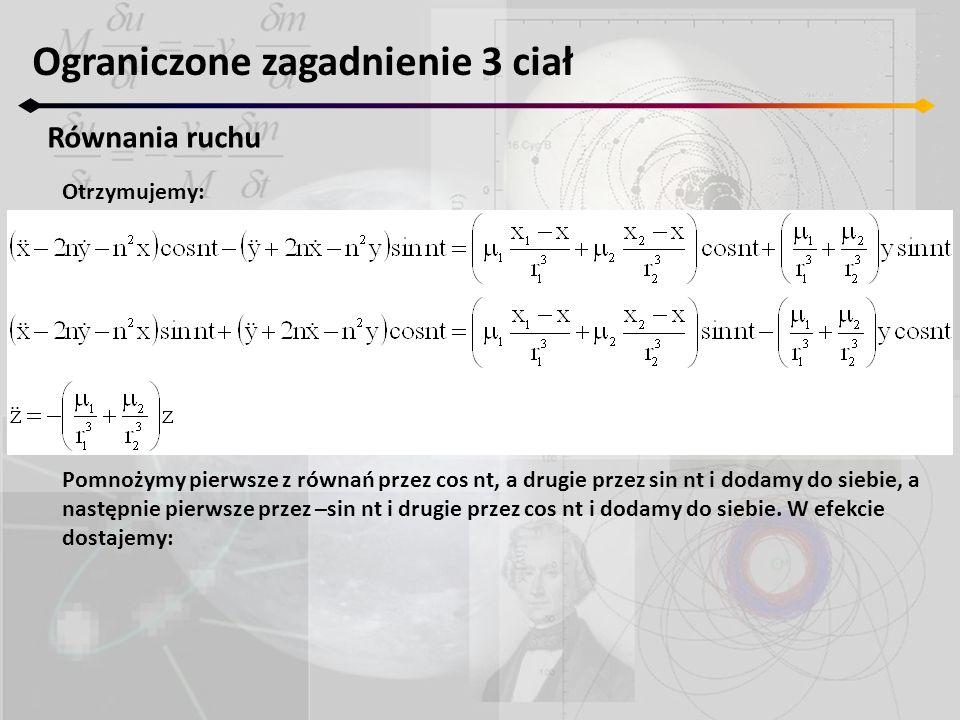 Ograniczone zagadnienie 3 ciał Równania ruchu Otrzymujemy: Pomnożymy pierwsze z równań przez cos nt, a drugie przez sin nt i dodamy do siebie, a nastę