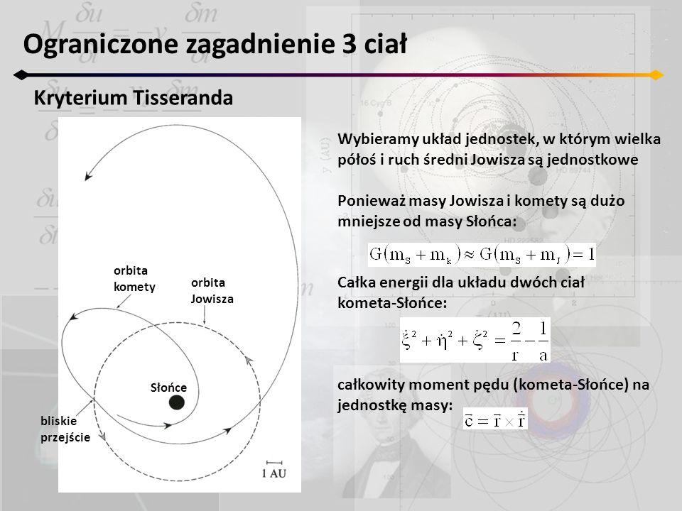 Ograniczone zagadnienie 3 ciał Kryterium Tisseranda bliskie przejście orbita komety orbita Jowisza Słońce Wybieramy układ jednostek, w którym wielka p