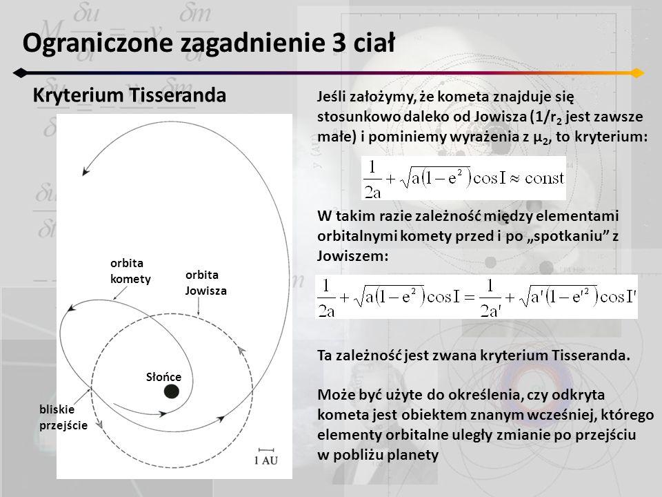 Ograniczone zagadnienie 3 ciał Kryterium Tisseranda bliskie przejście orbita komety orbita Jowisza Słońce Jeśli założymy, że kometa znajduje się stosu