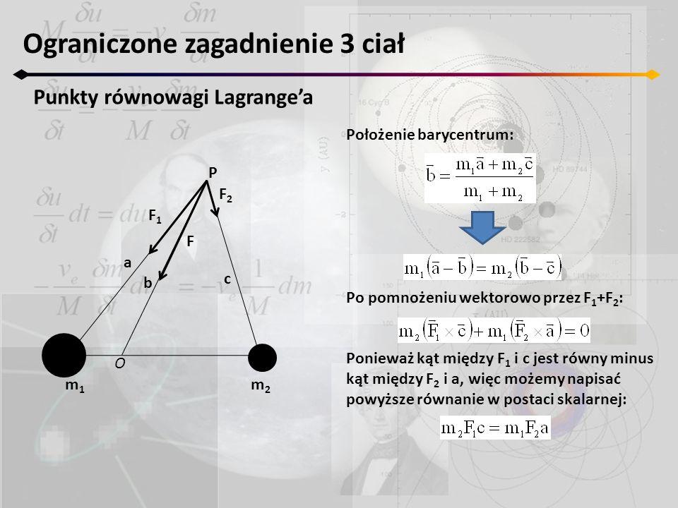 Ograniczone zagadnienie 3 ciał Punkty równowagi Lagrange'a m1m1 m2m2 F1F1 F2F2 F P a b c O Położenie barycentrum: Po pomnożeniu wektorowo przez F 1 +F