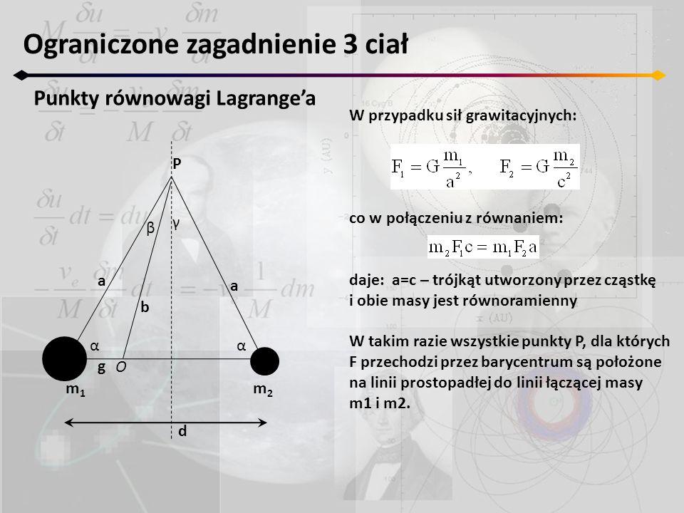 Ograniczone zagadnienie 3 ciał Punkty równowagi Lagrange'a W przypadku sił grawitacyjnych: co w połączeniu z równaniem: daje: a=c – trójkąt utworzony