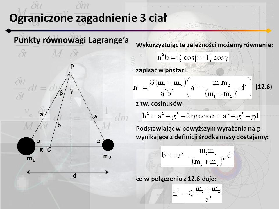 Ograniczone zagadnienie 3 ciał Punkty równowagi Lagrange'a m1m1 m2m2 P a b a O Wykorzystując te zależności możemy równanie: zapisać w postaci: (12.6)