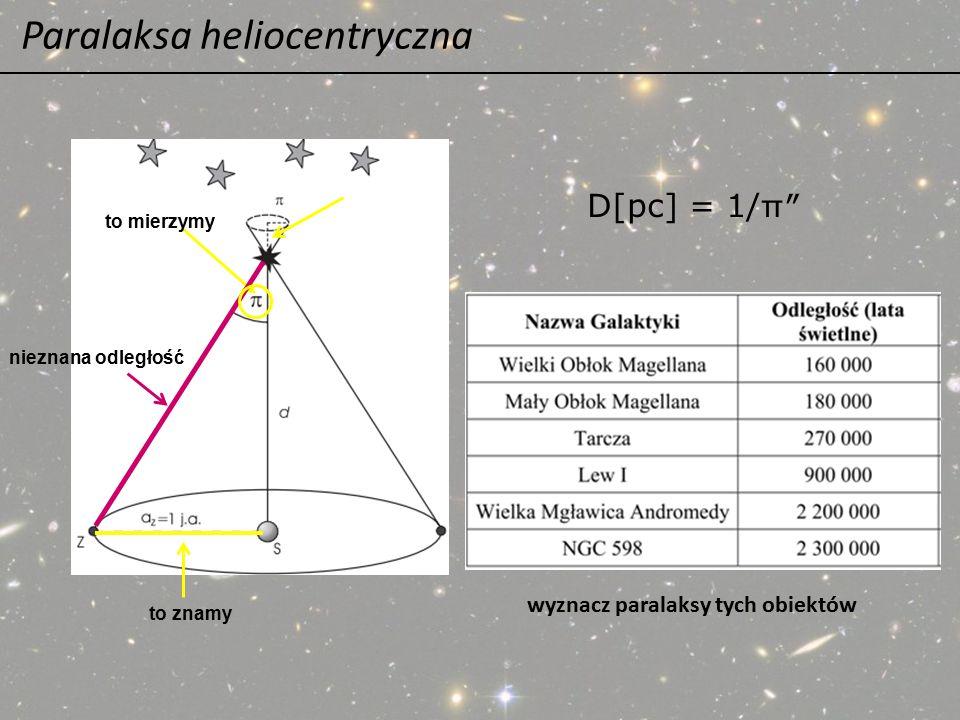Paralaksa heliocentryczna D[pc] = 1/ π ″ to mierzymy to znamy nieznana odległość wyznacz paralaksy tych obiektów