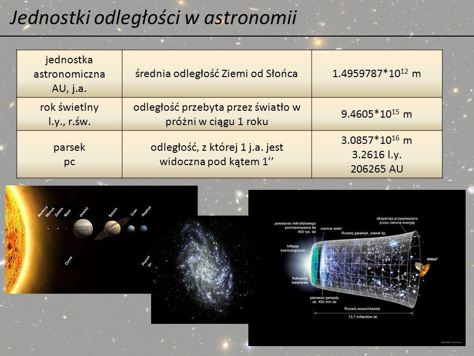 Jednostki odległości w astronomii jednostka astronomiczna AU, j.a. średnia odległość Ziemi od Słońca1.4959787*10 12 m rok świetlny l.y., r.św. odległo