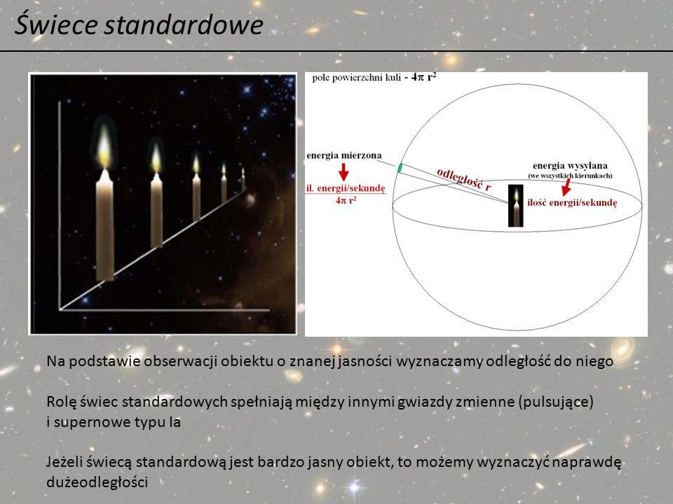 Świece standardowe Na podstawie obserwacji obiektu o znanej jasności wyznaczamy odległość do niego Rolę świec standardowych spełniają między innymi gw