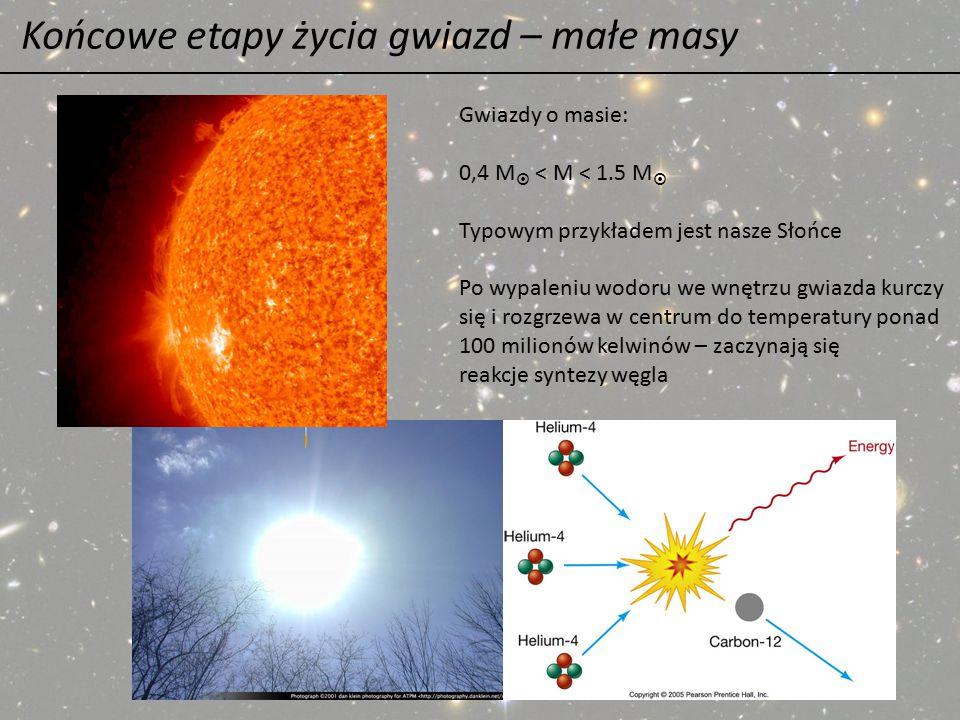 Końcowe etapy życia gwiazd – małe masy Gwiazdy o masie: 0,4 M  < M < 1.5 M  Typowym przykładem jest nasze Słońce Po wypaleniu wodoru we wnętrzu gwia