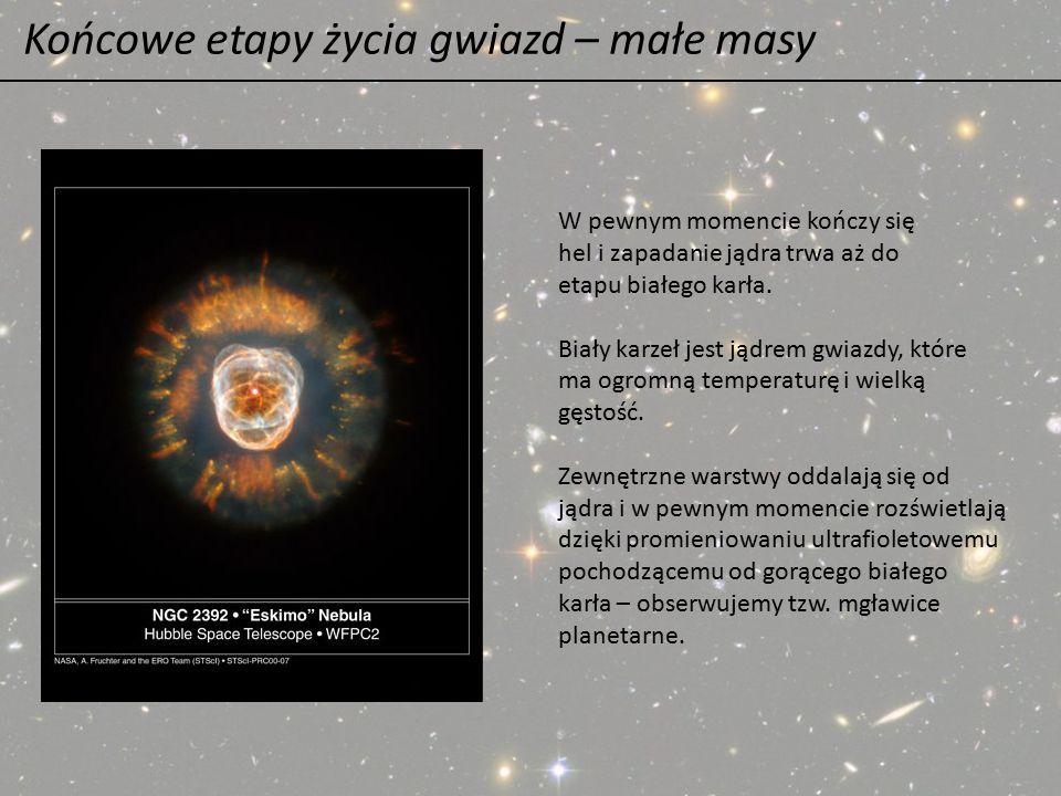 Końcowe etapy życia gwiazd – małe masy W pewnym momencie kończy się hel i zapadanie jądra trwa aż do etapu białego karła. Biały karzeł jest jądrem gwi
