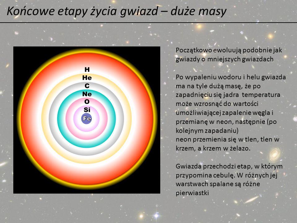 Końcowe etapy życia gwiazd – duże masy Początkowo ewoluują podobnie jak gwiazdy o mniejszych gwiazdach Po wypaleniu wodoru i helu gwiazda ma na tyle d