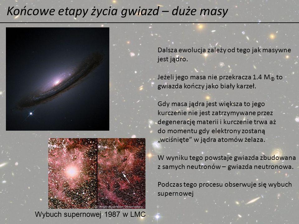 Końcowe etapy życia gwiazd – duże masy Dalsza ewolucja zależy od tego jak masywne jest jądro. Jeżeli jego masa nie przekracza 1.4 M  to gwiazda kończ