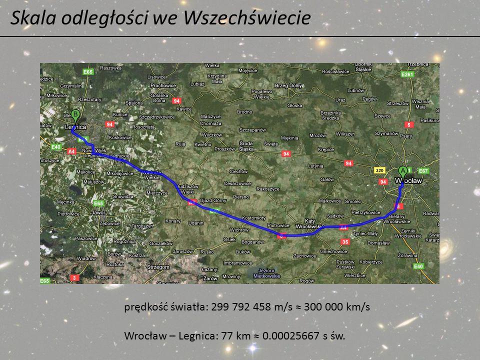 Skala odległości we Wszechświecie prędkość światła: 299 792 458 m/s ≈ 300 000 km/s Wrocław – Legnica: 77 km ≈ 0.00025667 s św.