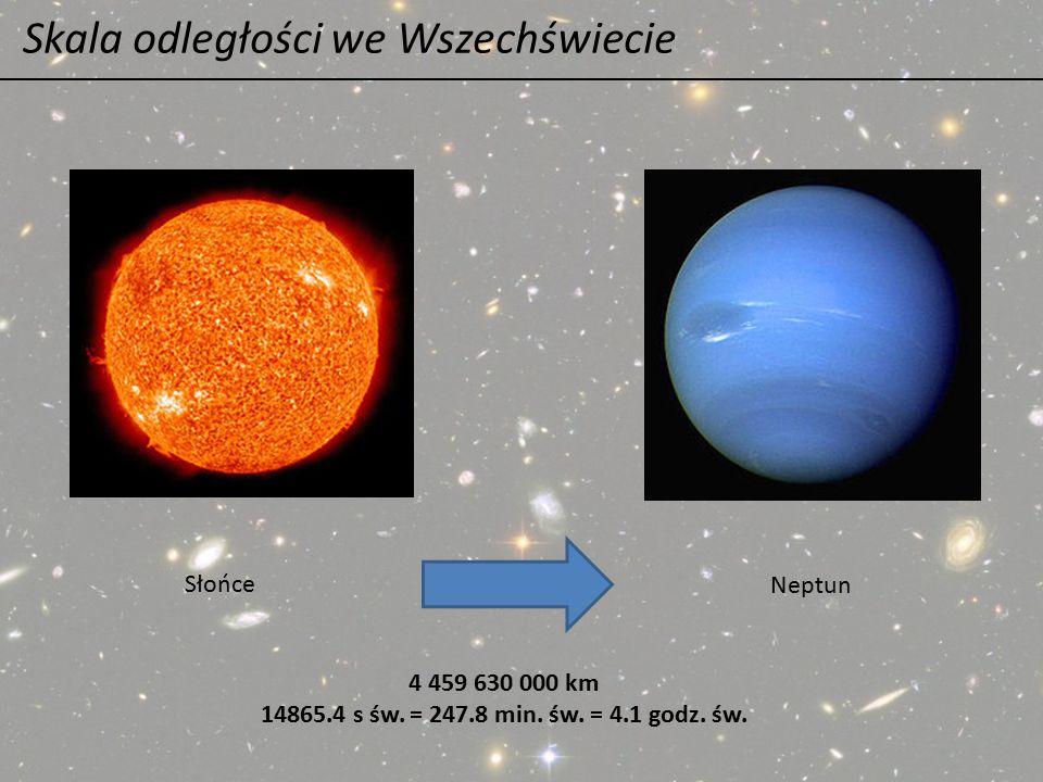 Skala odległości we Wszechświecie Słońce Neptun 4 459 630 000 km 14865.4 s św. = 247.8 min. św. = 4.1 godz. św.