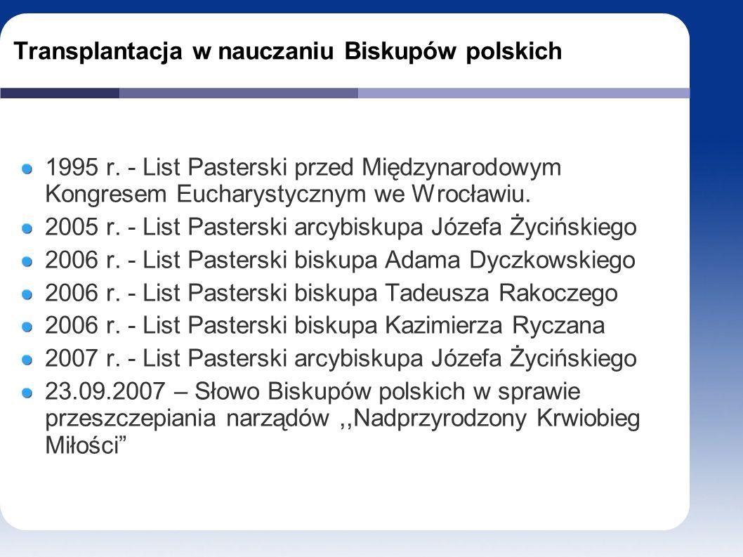 Transplantacja w nauczaniu Biskupów polskich 1995 r.