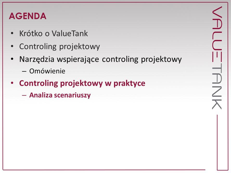 AGENDA Krótko o ValueTank Controling projektowy Narzędzia wspierające controling projektowy – Omówienie Controling projektowy w praktyce – Analiza sce