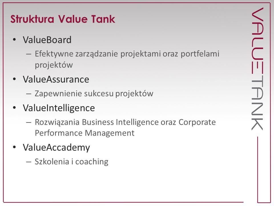 Struktura Value Tank ValueBoard – Efektywne zarządzanie projektami oraz portfelami projektów ValueAssurance – Zapewnienie sukcesu projektów ValueIntel