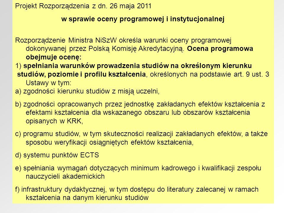 Projekt Rozporządzenia z dn. 26 maja 2011 w sprawie oceny programowej i instytucjonalnej Rozporządzenie Ministra NiSzW określa warunki oceny programow
