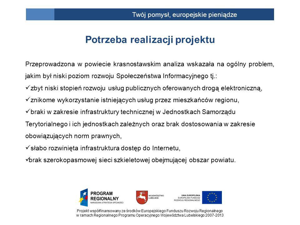 Projekt współfinansowany ze środków Europejskiego Funduszu Rozwoju Regionalnego w ramach Regionalnego Programu Operacyjnego Województwa Lubelskiego 2007-2013 Twój pomysł, europejskie pieniądze Potrzeba realizacji projektu Przeprowadzona w powiecie krasnostawskim analiza wskazała na ogólny problem, jakim był niski poziom rozwoju Społeczeństwa Informacyjnego tj.: zbyt niski stopień rozwoju usług publicznych oferowanych drogą elektroniczną, znikome wykorzystanie istniejących usług przez mieszkańców regionu, braki w zakresie infrastruktury technicznej w Jednostkach Samorządu Terytorialnego i ich jednostkach zależnych oraz brak dostosowania w zakresie obowiązujących norm prawnych, słabo rozwinięta infrastruktura dostęp do Internetu, brak szerokopasmowej sieci szkieletowej obejmującej obszar powiatu.