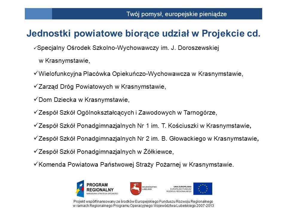 Projekt współfinansowany ze środków Europejskiego Funduszu Rozwoju Regionalnego w ramach Regionalnego Programu Operacyjnego Województwa Lubelskiego 2007-2013 Twój pomysł, europejskie pieniądze Specjalny Ośrodek Szkolno-Wychowawczy im.