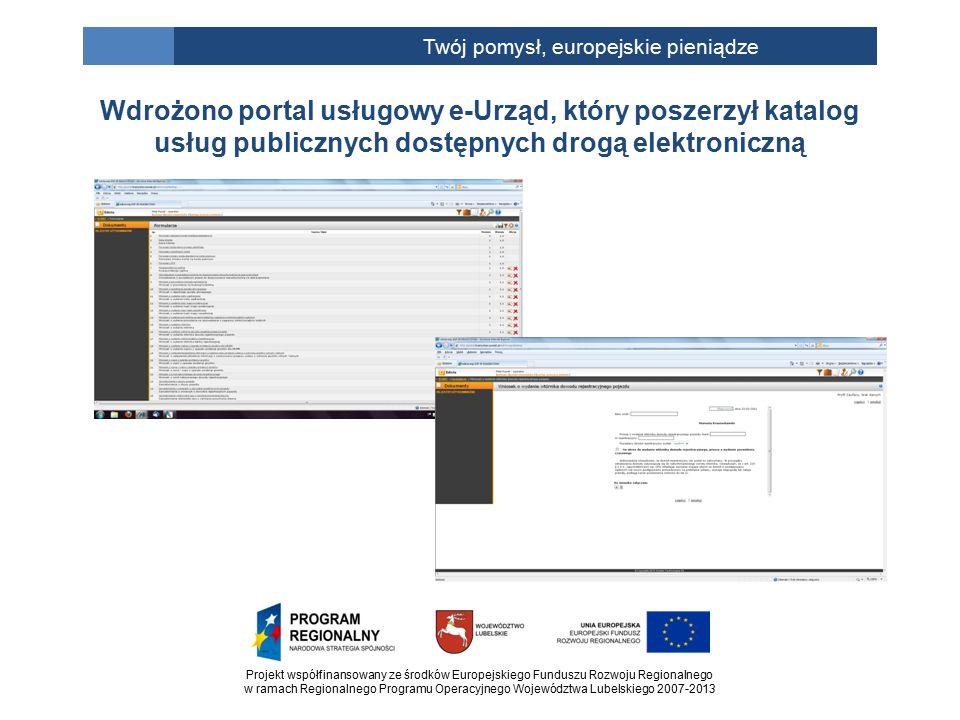 Projekt współfinansowany ze środków Europejskiego Funduszu Rozwoju Regionalnego w ramach Regionalnego Programu Operacyjnego Województwa Lubelskiego 2007-2013 Twój pomysł, europejskie pieniądze Wdrożono portal usługowy e-Urząd, który poszerzył katalog usług publicznych dostępnych drogą elektroniczną