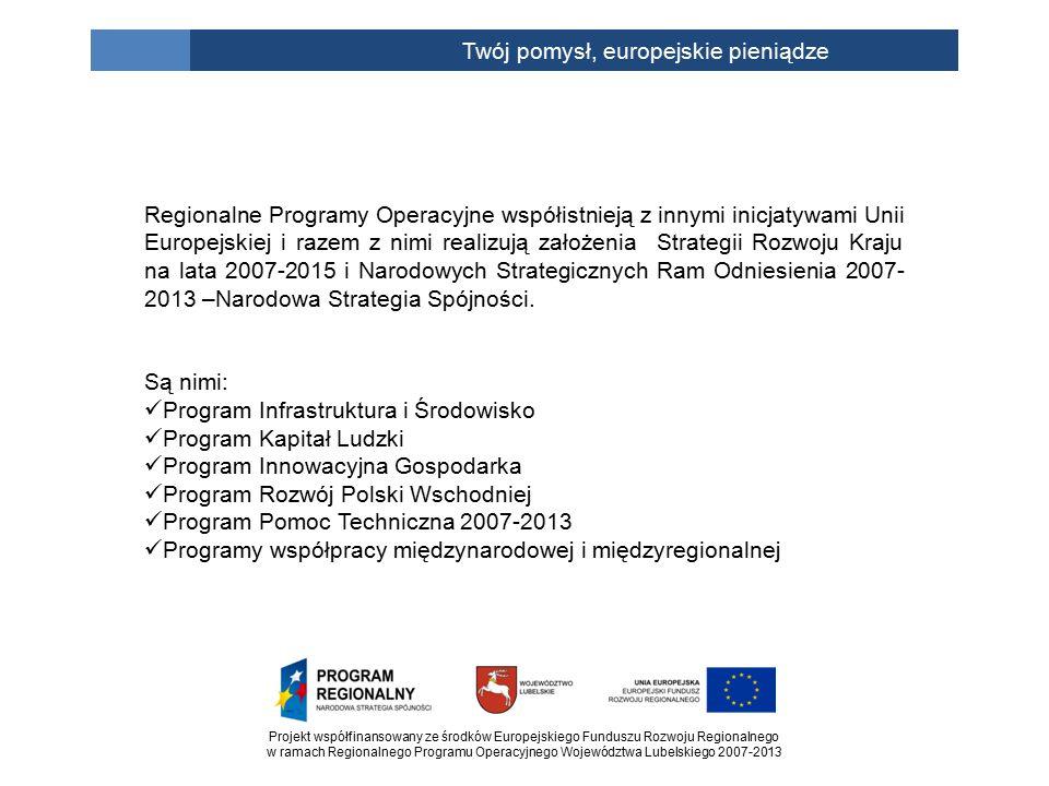 Projekt współfinansowany ze środków Europejskiego Funduszu Rozwoju Regionalnego w ramach Regionalnego Programu Operacyjnego Województwa Lubelskiego 2007-2013 Twój pomysł, europejskie pieniądze Regionalne Programy Operacyjne współistnieją z innymi inicjatywami Unii Europejskiej i razem z nimi realizują założenia Strategii Rozwoju Kraju na lata 2007-2015 i Narodowych Strategicznych Ram Odniesienia 2007- 2013 –Narodowa Strategia Spójności.