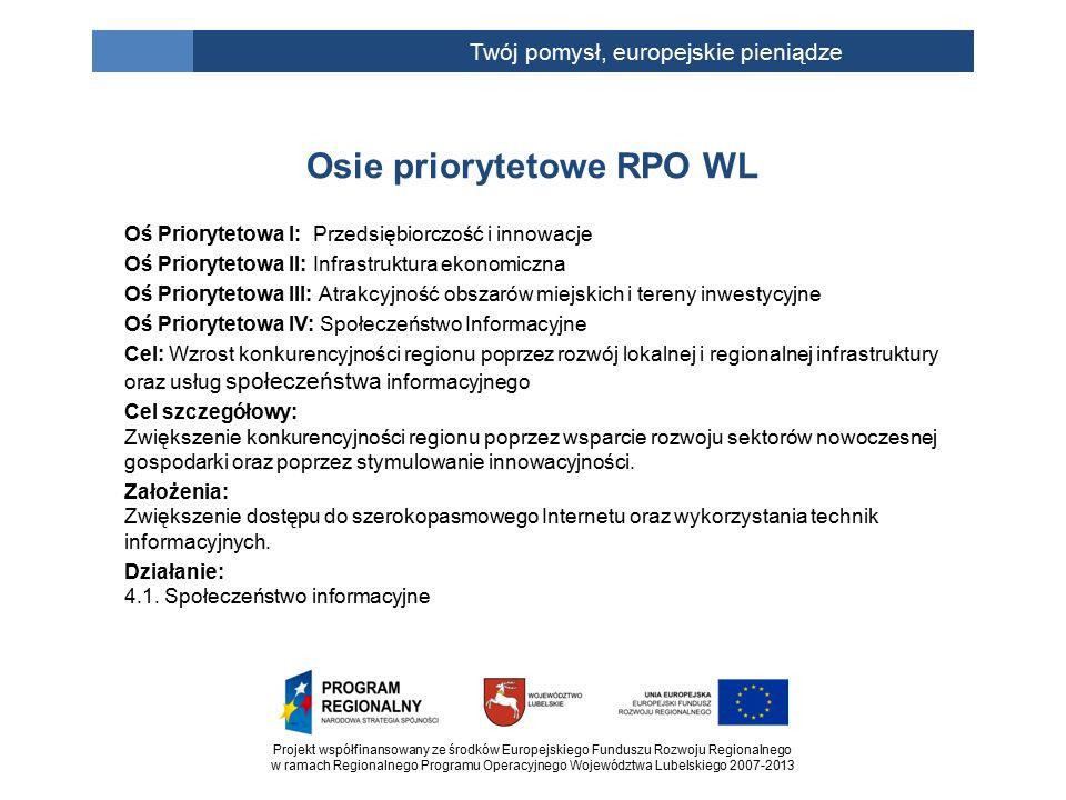 Projekt współfinansowany ze środków Europejskiego Funduszu Rozwoju Regionalnego w ramach Regionalnego Programu Operacyjnego Województwa Lubelskiego 2007-2013 Twój pomysł, europejskie pieniądze Oś Priorytetowa I: Przedsiębiorczość i innowacje Oś Priorytetowa II: Infrastruktura ekonomiczna Oś Priorytetowa III: Atrakcyjność obszarów miejskich i tereny inwestycyjne Oś Priorytetowa IV: Społeczeństwo Informacyjne Cel: Wzrost konkurencyjności regionu poprzez rozwój lokalnej i regionalnej infrastruktury oraz usług społeczeństwa informacyjnego Cel szczegółowy: Zwiększenie konkurencyjności regionu poprzez wsparcie rozwoju sektorów nowoczesnej gospodarki oraz poprzez stymulowanie innowacyjności.