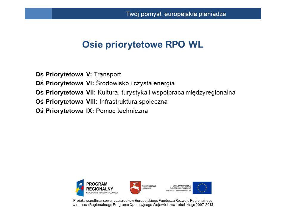 Projekt współfinansowany ze środków Europejskiego Funduszu Rozwoju Regionalnego w ramach Regionalnego Programu Operacyjnego Województwa Lubelskiego 2007-2013 Twój pomysł, europejskie pieniądze Na realizację wszystkich zadań w ramach lubelskiego RPO jest ponad miliard €, a konkretnie 1 155,9 mln €.