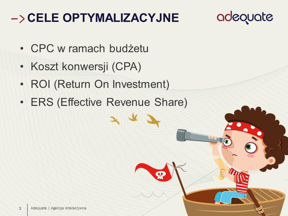 3 CELE OPTYMALIZACYJNE Adequate | Agencja interaktywna CPC w ramach budżetu Koszt konwersji (CPA) ROI (Return On Investment) ERS (Effective Revenue Share)
