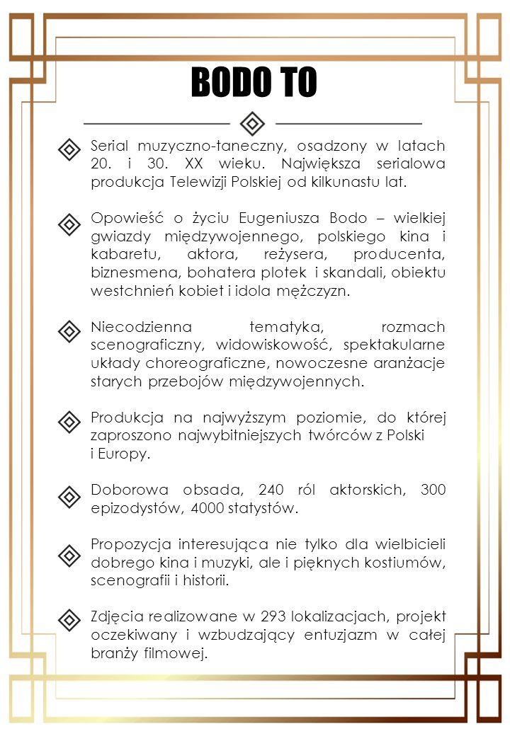 BODO TO Serial muzyczno-taneczny, osadzony w latach 20. i 30. XX wieku. Największa serialowa produkcja Telewizji Polskiej od kilkunastu lat. Opowieść