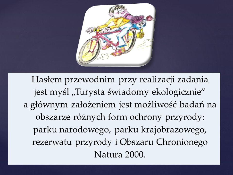 """Hasłem przewodnim przy realizacji zadania jest myśl """"Turysta świadomy ekologicznie a głównym założeniem jest możliwość badań na obszarze różnych form ochrony przyrody: parku narodowego, parku krajobrazowego, rezerwatu przyrody i Obszaru Chronionego Natura 2000."""