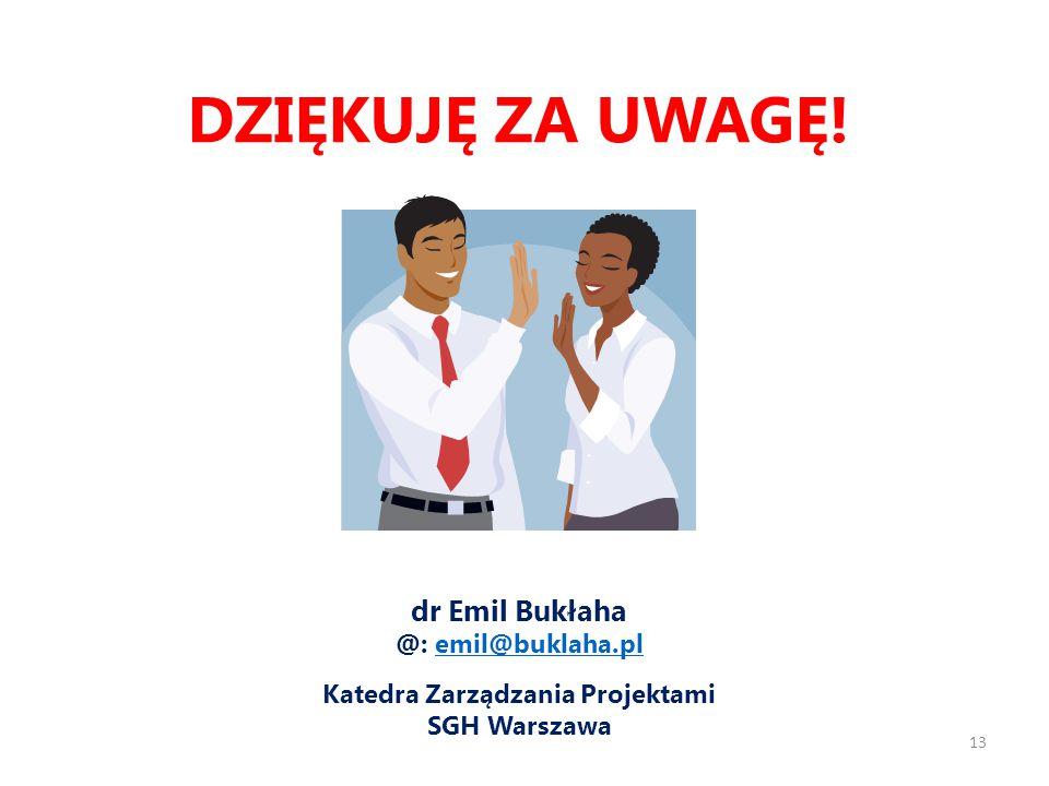 dr Emil Bukłaha @: emil@buklaha.plemil@buklaha.pl Katedra Zarządzania Projektami SGH Warszawa DZIĘKUJĘ ZA UWAGĘ.