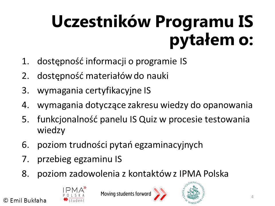 Uczestników Programu IS pytałem o: 1.dostępność informacji o programie IS 2.dostępność materiałów do nauki 3.wymagania certyfikacyjne IS 4.wymagania dotyczące zakresu wiedzy do opanowania 5.funkcjonalność panelu IS Quiz w procesie testowania wiedzy 6.poziom trudności pytań egzaminacyjnych 7.przebieg egzaminu IS 8.poziom zadowolenia z kontaktów z IPMA Polska 4 © Emil Bukłaha