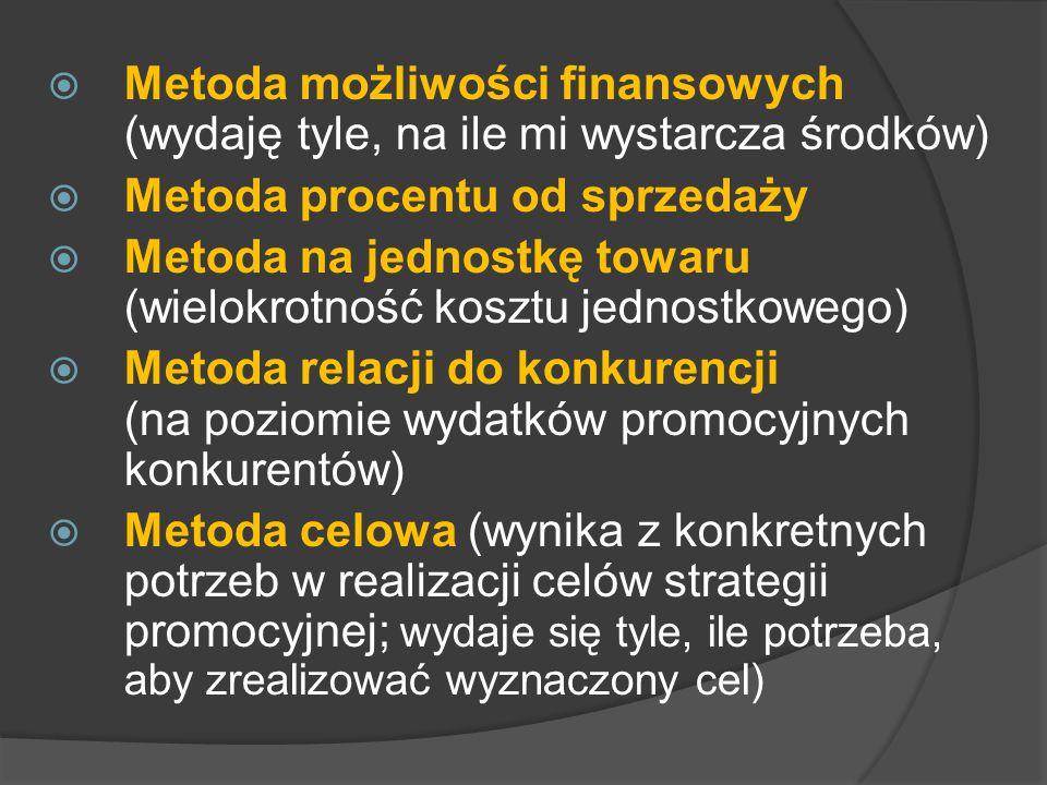  Metoda możliwości finansowych (wydaję tyle, na ile mi wystarcza środków)  Metoda procentu od sprzedaży  Metoda na jednostkę towaru (wielokrotność kosztu jednostkowego)  Metoda relacji do konkurencji (na poziomie wydatków promocyjnych konkurentów)  Metoda celowa (wynika z konkretnych potrzeb w realizacji celów strategii promocyjnej; wydaje się tyle, ile potrzeba, aby zrealizować wyznaczony cel)