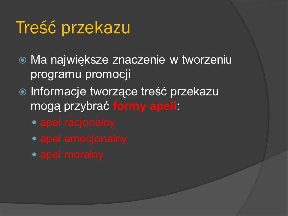 Treść przekazu  Ma największe znaczenie w tworzeniu programu promocji  Informacje tworzące treść przekazu mogą przybrać formy apeli: apel racjonalny apel emocjonalny apel moralny