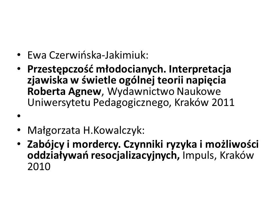Ewa Czerwińska-Jakimiuk: Przestępczość młodocianych. Interpretacja zjawiska w świetle ogólnej teorii napięcia Roberta Agnew, Wydawnictwo Naukowe Uniwe