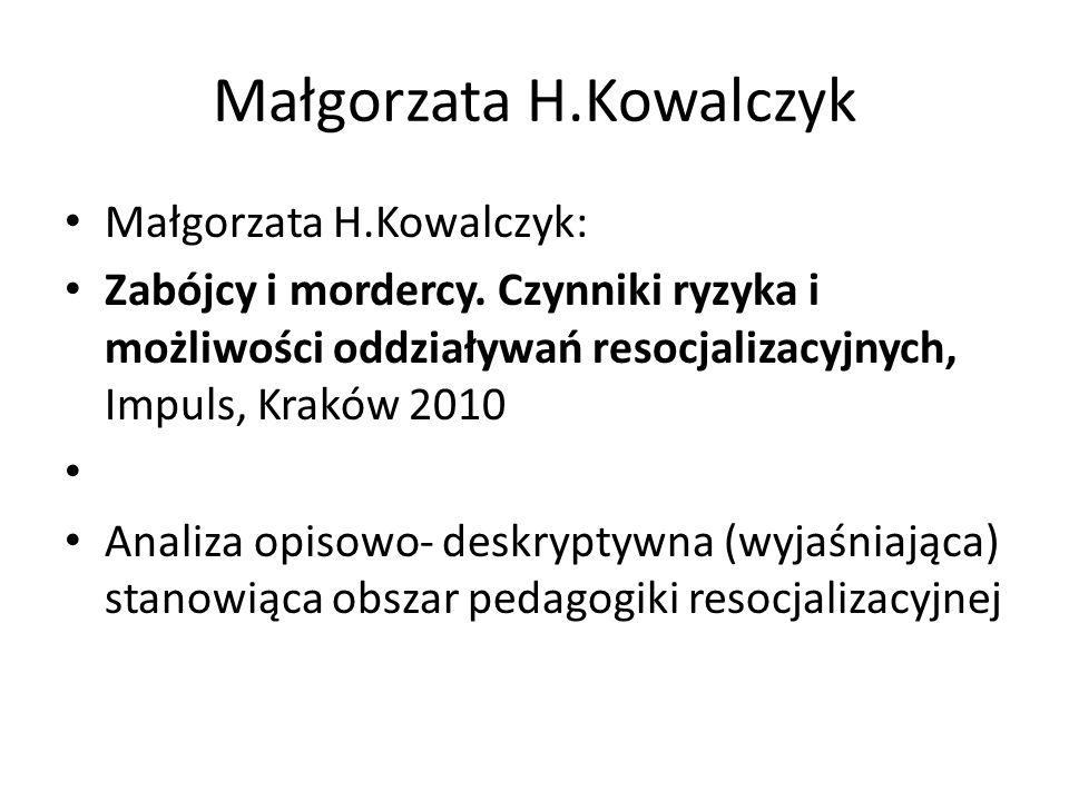 Małgorzata H.Kowalczyk Małgorzata H.Kowalczyk: Zabójcy i mordercy. Czynniki ryzyka i możliwości oddziaływań resocjalizacyjnych, Impuls, Kraków 2010 An