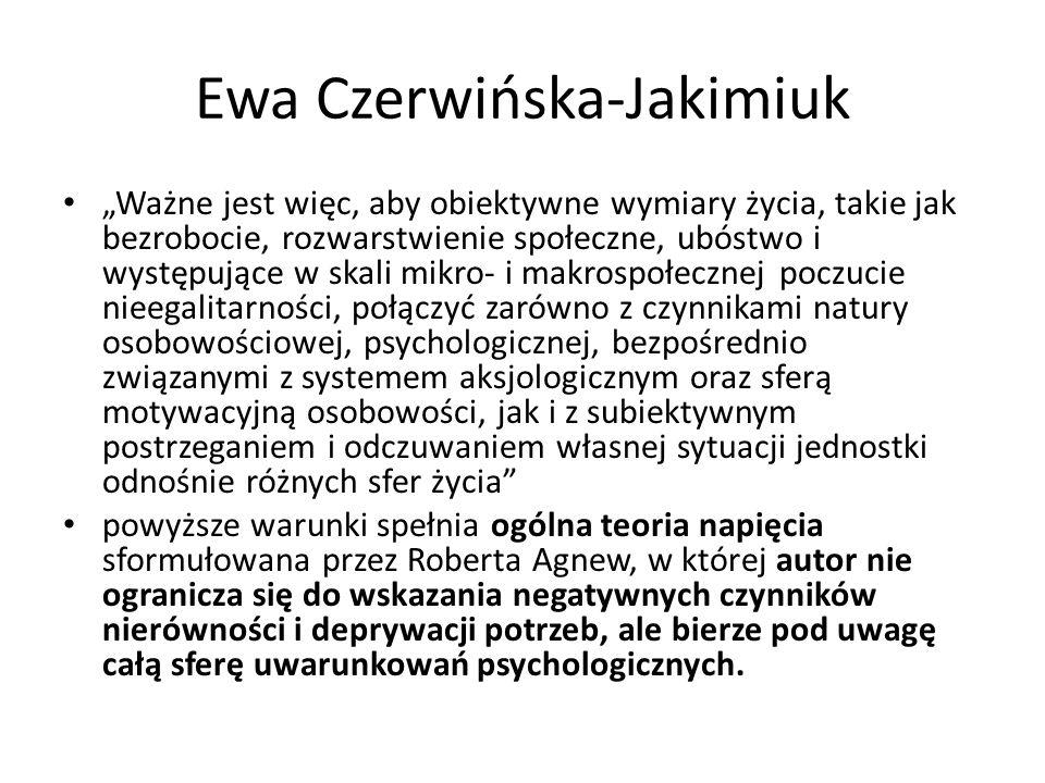 """Ewa Czerwińska-Jakimiuk """"Ważne jest więc, aby obiektywne wymiary życia, takie jak bezrobocie, rozwarstwienie społeczne, ubóstwo i występujące w skali"""