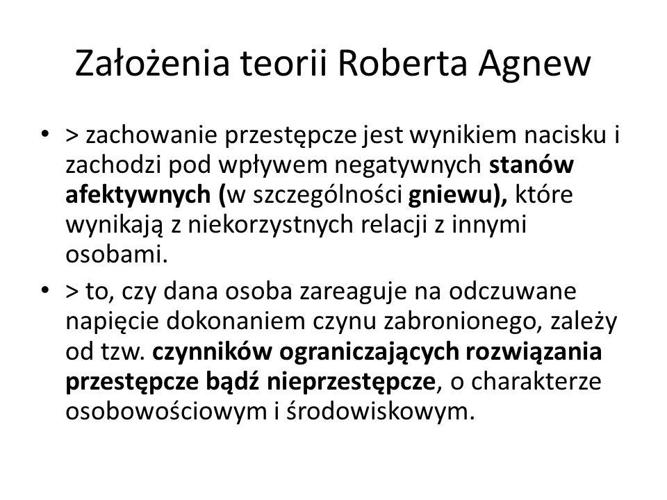 Zmienne uwzględnione w badaniach Ewy Czerwińskiej-Jakimiuk - osobowościowe: samoocena, atrybucje przyczyn niepowodzeń (przyczyn napięcia) - środowiskowe:: poziom kontroli społecznej ze strony rodziców, szkoły, rówieśników, powiązania z przestępczymi osobami (rówieśnikami), - czynniki sytuacyjno–społeczne (sytuacja materialna w rodzinie, percepcja własnych perspektyw życiowych oraz rzeczywistości społecznej)