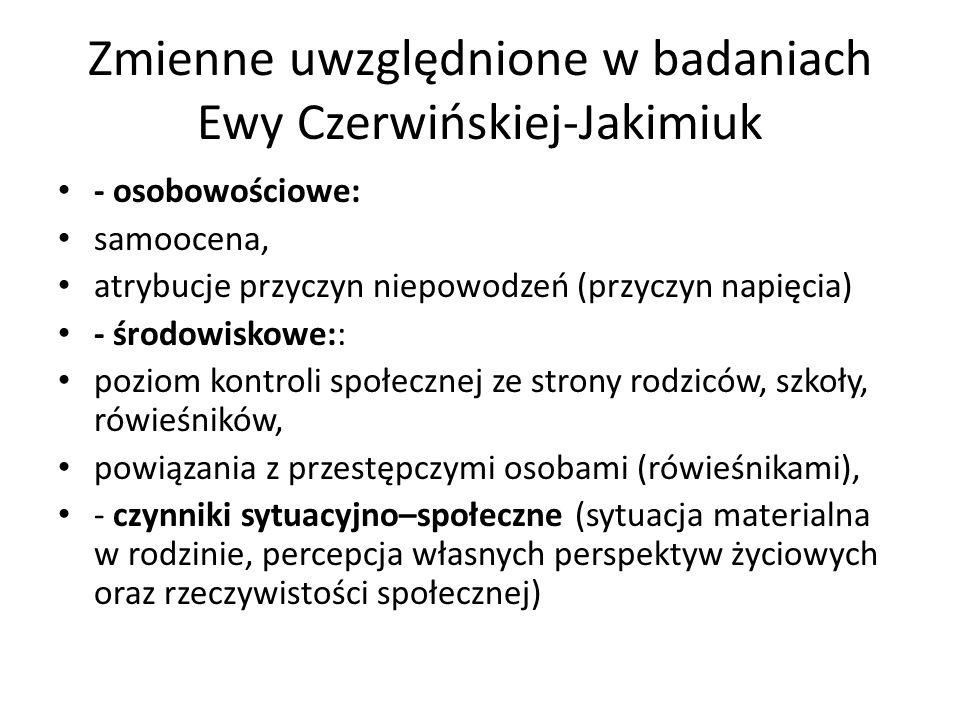 Zmienne uwzględnione w badaniach Ewy Czerwińskiej-Jakimiuk - osobowościowe: samoocena, atrybucje przyczyn niepowodzeń (przyczyn napięcia) - środowisko