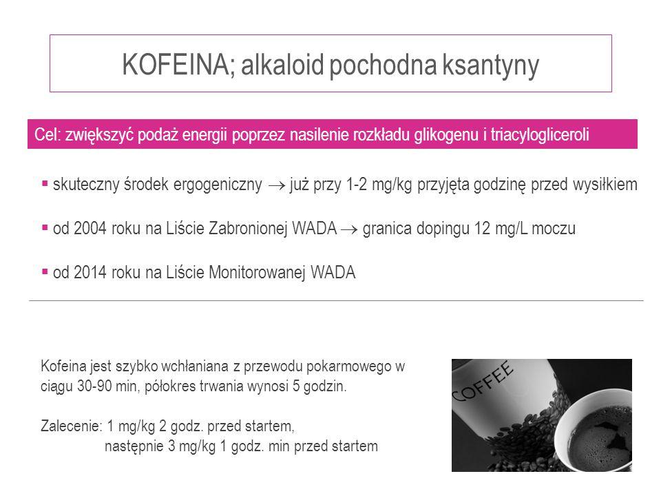 KOFEINA; alkaloid pochodna ksantyny  skuteczny środek ergogeniczny  już przy 1-2 mg/kg przyjęta godzinę przed wysiłkiem  od 2004 roku na Liście Zab