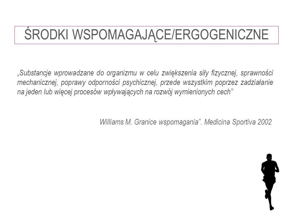 """Williams M. Granice wspomagania"""". Medicina Sportiva 2002 """"Substancje wprowadzane do organizmu w celu zwiększenia siły fizycznej, sprawności mechaniczn"""