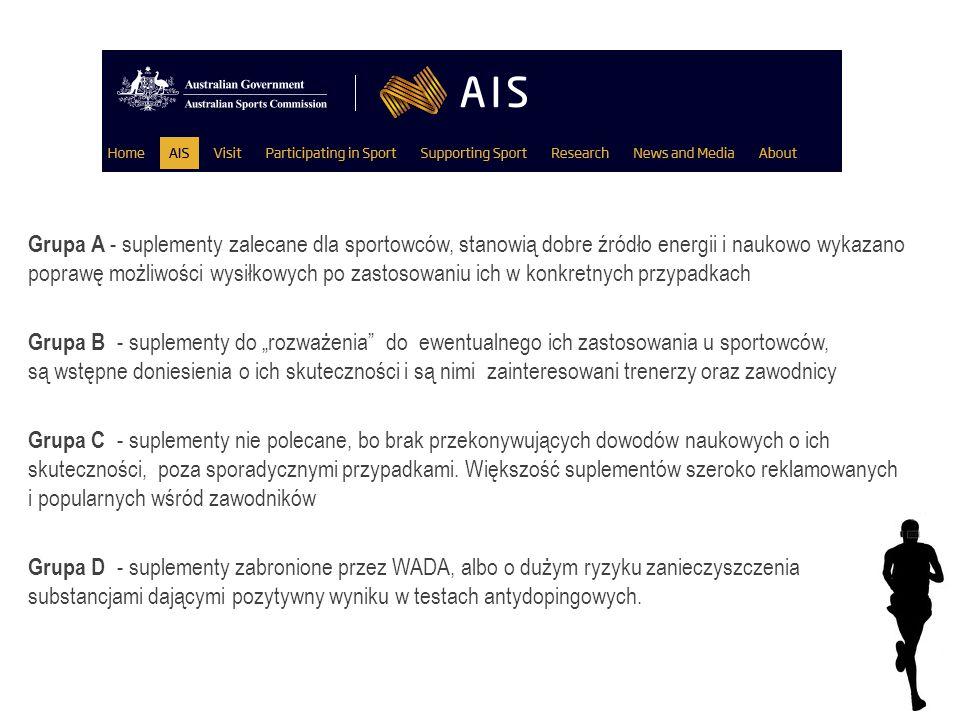 Grupa A - suplementy zalecane dla sportowców, stanowią dobre źródło energii i naukowo wykazano poprawę możliwości wysiłkowych po zastosowaniu ich w ko
