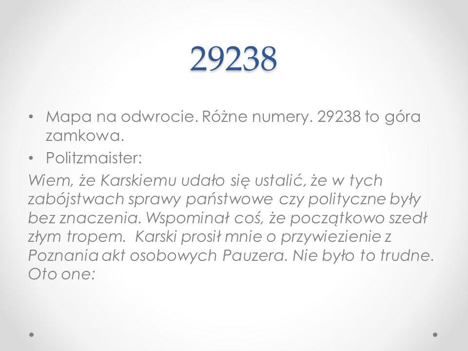29238 Mapa na odwrocie. Różne numery. 29238 to góra zamkowa.