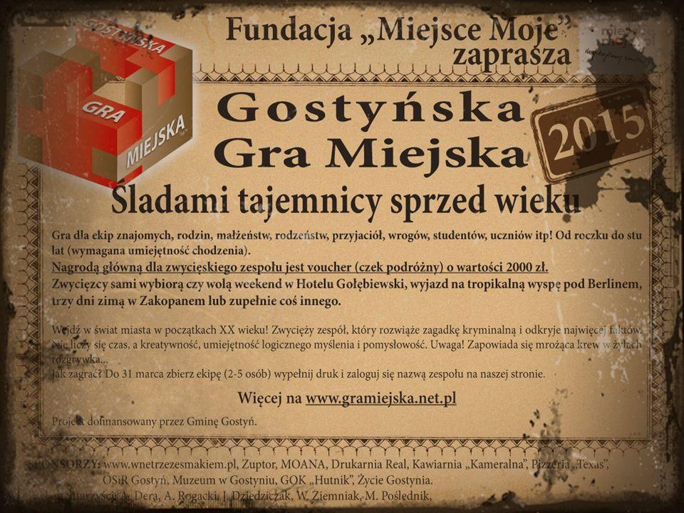 SCENARIUSZ Gra dotyczy odkrycia tajemniczego mordercy, który grasuje w Gostyniu w 1910 roku.
