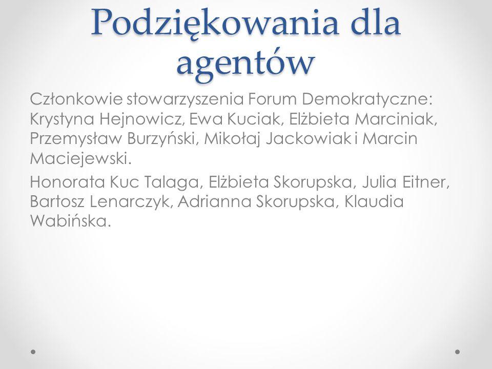Podziękowania dla agentów Członkowie stowarzyszenia Forum Demokratyczne: Krystyna Hejnowicz, Ewa Kuciak, Elżbieta Marciniak, Przemysław Burzyński, Mikołaj Jackowiak i Marcin Maciejewski.
