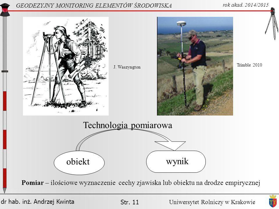 dr hab.inż. Andrzej Kwinta Str. 11 GEODEZYJNY MONITORING ELEMENTÓW ŚRODOWISKA rok akad.