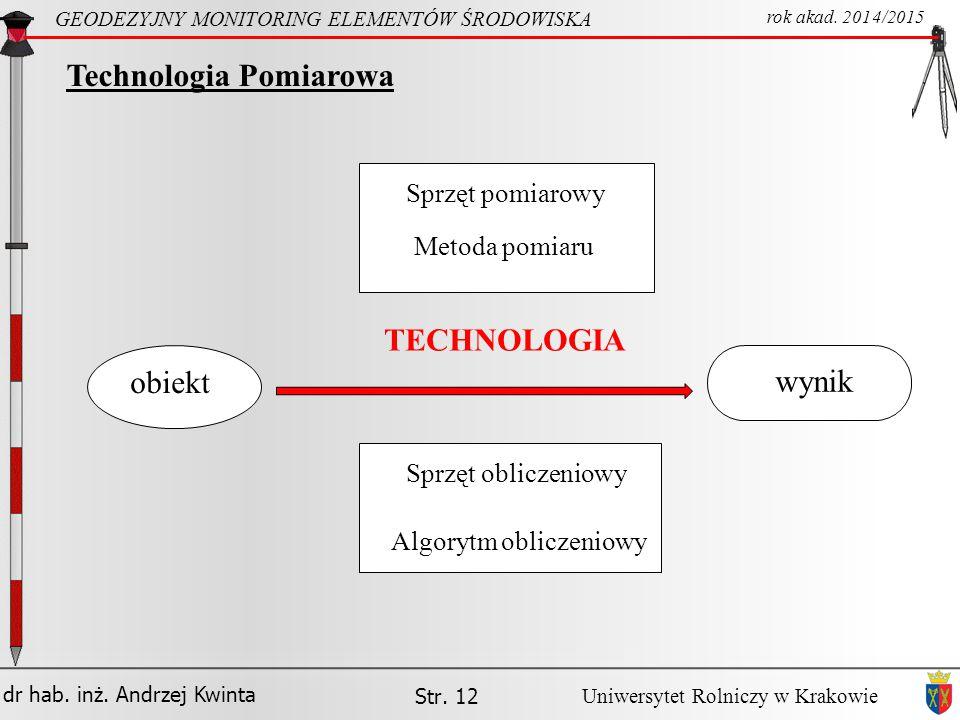 dr hab.inż. Andrzej Kwinta Str. 12 GEODEZYJNY MONITORING ELEMENTÓW ŚRODOWISKA rok akad.