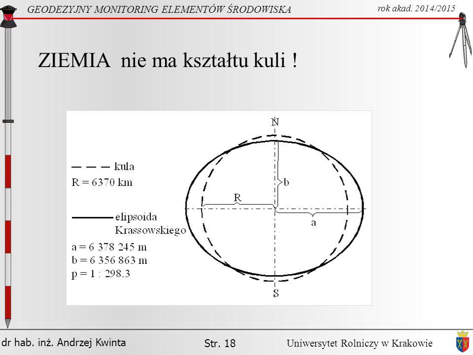 dr hab.inż. Andrzej Kwinta Str. 18 GEODEZYJNY MONITORING ELEMENTÓW ŚRODOWISKA rok akad.