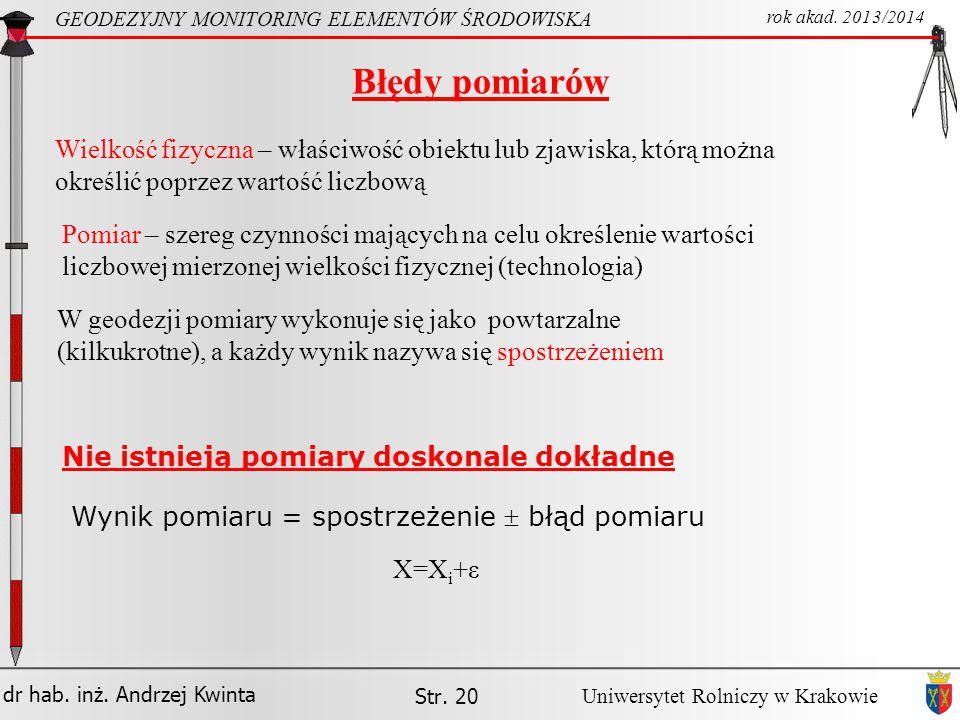 dr hab.inż. Andrzej Kwinta Str. 20 GEODEZYJNY MONITORING ELEMENTÓW ŚRODOWISKA rok akad.