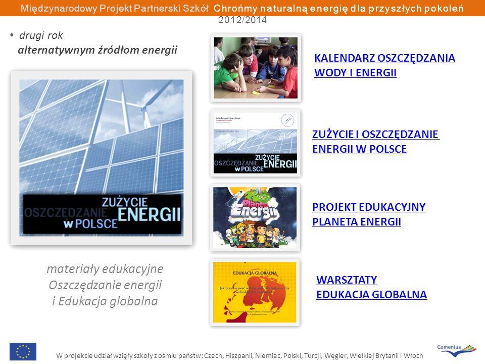 W projekcie udział wzięły szkoły z ośmiu państw: Czech, Hiszpanii, Niemiec, Polski, Turcji, Węgier, Wielkiej Brytanii i Włoch Międzynarodowy Projekt Partnerski Szkół Chrońmy naturalną energię dla przyszłych pokoleń 2012/2014 materiały edukacyjne Oszczędzanie energii i Edukacja globalna KALENDARZ OSZCZĘDZANIA WODY I ENERGII ZUŻYCIE I OSZCZĘDZANIE ENERGII W POLSCE PROJEKT EDUKACYJNY PLANETA ENERGII WARSZTATY EDUKACJA GLOBALNA drugi rok alternatywnym źródłom energii