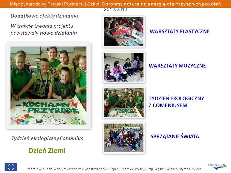 W projekcie udział wzięły szkoły z ośmiu państw: Czech, Hiszpanii, Niemiec, Polski, Turcji, Węgier, Wielkiej Brytanii i Włoch Międzynarodowy Projekt Partnerski Szkół Chrońmy naturalną energię dla przyszłych pokoleń 2012/2014 Tydzień ekologiczny Comenius Dzień Ziemi WARSZTATY PLASTYCZNE WARSZTATY MUZYCZNE TYDZIEŃ EKOLOGICZNY Z COMENIUSEM SPRZĄTANIE ŚWIATA Dodatkowe efekty działania W trakcie trwania projektu powstawały nowe działania